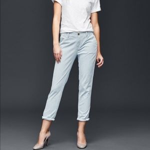 GAP Railroad Stripe Girlfriend Chino / Crop Pants